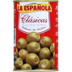 Clasicas aceitunas rellenas de anchoa, olives espagnoles à la farce d'anchois