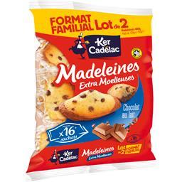 Ker Cadelac Madeleines extra moelleuses chocolat au lait le lot de 2 paquets de 400 g -