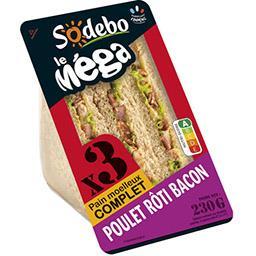 Sandwich mega club complet poulet rôti bacon