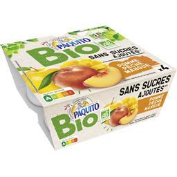 Purée pomme pêche mangue sans sucres ajoutés,PAQUITO,les 4 coupelles de 100 g