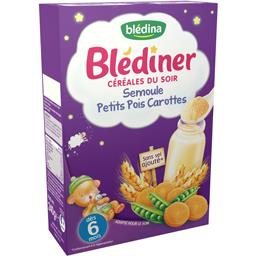 Blédîner - Céréales du soir semoule petits pois carottes, dès 6 mois