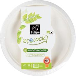 Ecologic - Assiettes à dessert D18 cm, biodégradables