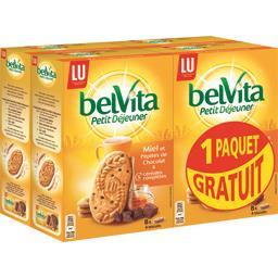 Belvita Petit Déjeuner - Biscuits miel et pépites de chocolat & 5 céréales complètes