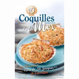 Coquille de la mer au saumon, noix de St Jacques & crevettes,Sélectionné Par Votre Magasin,le sachet de 10 coquilles - 900g