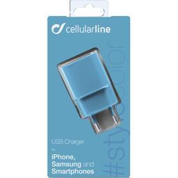 Chargeur secteur USB 1A bleu