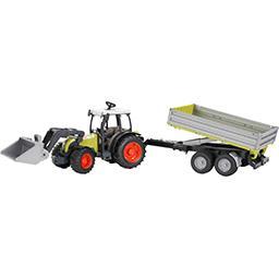 Tracteur Claas Atles avec fourche et remorque