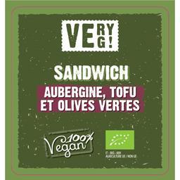 Sandwiches BIO farcis sauce riz, Tofu, aubergines olives