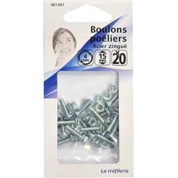Boulon poêliers acier zingué 4mm 15mm