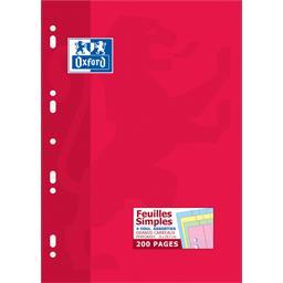 Oxford 100105449 Pack de 200 Feuilles Simples perforées A4 Grands Carreaux Seyès Bleu/Rose/Vert/Jaune