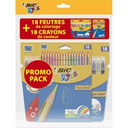 Bic Kids - Pochettes de coloriage feutres et crayons de ... les 2 pochettes de 18 crayons