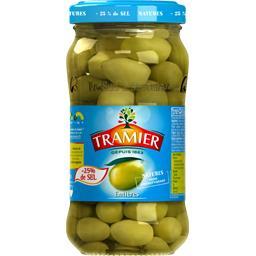 Olives vertes entières, -25% de sel