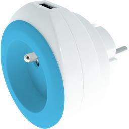 Chargeur USB 2,4 A + 16 A + câble coloris blanc/bleu