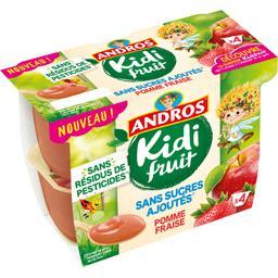 Andros Kidi Fruit - Spécialité de pomme fraise les 4 pots de 85 g