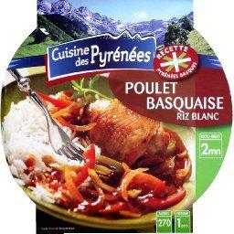 Poulet basquaise au riz blanc,CUISINE DES PYRÉNÉES,la barquette de 300g