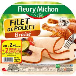 Fleury Michon Filet de poulet braisé le lot de 2 barquettes de 4 tranches s - 300 g