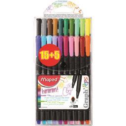 Graph'Peps - Feutres d'écriture 0,4 mm 20 couleurs