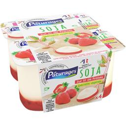 Pâturages Soja - Spécialité végétale sur lit de fraise les 4 pots de 100 g