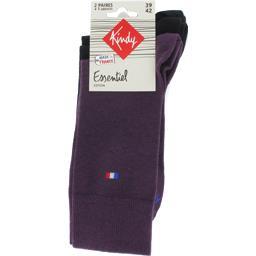 Chaussettes Essentiel coton 39-42 violet/noir