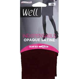 Indispensable - Collant opaque satiné noir T3/4