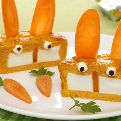Flans carottes au fromage Kiri- Les lapins Kiri