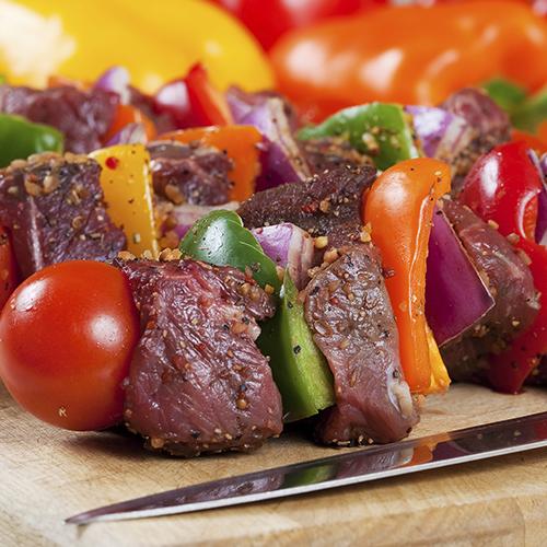 Brochettes de bœuf aux poivrons
