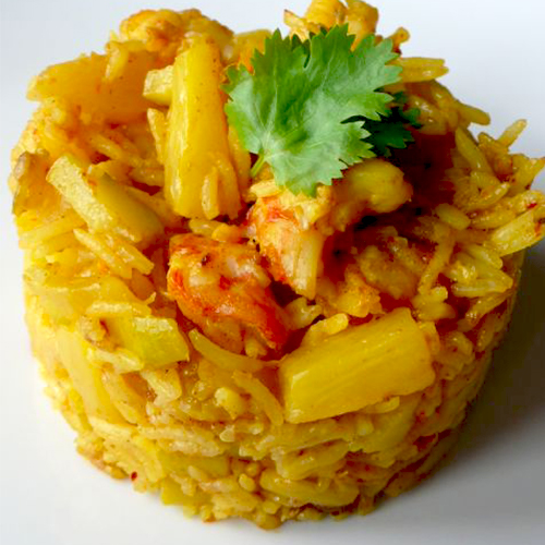 Risotto curry et ananas