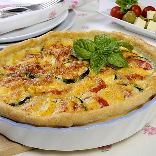 Flan de courgette, thon et tomates