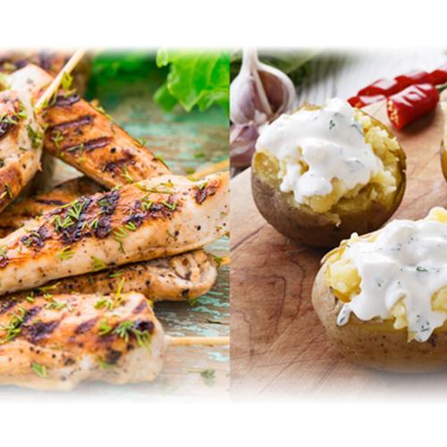 Brochette d'aiguillettes de poulet grillées au barbecue