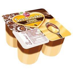 Serduszko Pyszny Pudding o smaku waniliowym z sosem o smaku czekoladowym 500 g (4 sztuki)