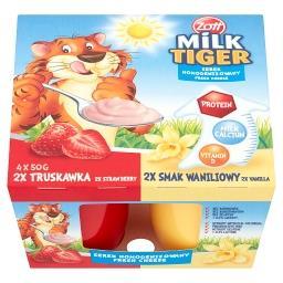 Milk Tiger Serek homogenizowany truskawka smak waniliowy 200 g (4 sztuki)