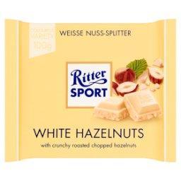 Biała czekolada z kawałkami prażonych orzechów laskowych i chrupkami ryżowymi