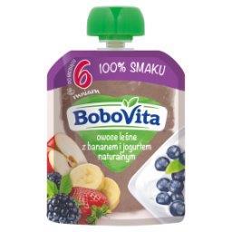 Owoce leśne z bananem i jogurtem naturalnym po 6 mie...