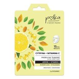 Maska na tkaninie cytryna + witamina C rozświetlenie + wygładzenie 23 ml