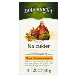 Zioła Mnicha Na cukier Herbatka ziołowa z dodatkiem herbaty zielonej 40 g (20 torebek)