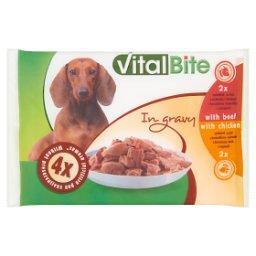 Karma dla psów z wołowiną i z kurczakiem w sosie