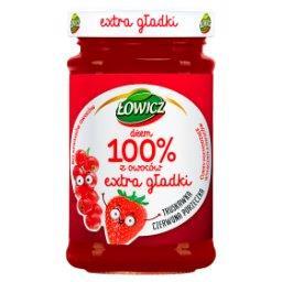 Dżem 100% z owoców extra gładki truskawka czerwona porzeczka