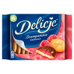 Szampańskie Biszkopty z galaretką o smaku malinowym oblewane czekoladą