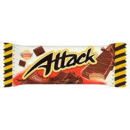 Attack Wafle przekładane nadzieniem o smaku kakaowo-czekoladowym w polewie