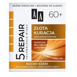 Technologia Wieku 5Repair 60+ Złota kuracja nocny krem regenerująco-odbudowujący 50 ml