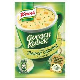 Gorący Kubek Zupa o smaku zielonej cebulki z grzankami