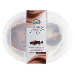 Lodowa finezja Lody śmietankowo-czekoladowe z belgijską czekoladą i sosem czekoladowym