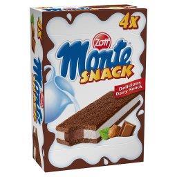 Monte Snack Biszkopt z kremem mlecznym i czekoladowo-orzechowym 4 x