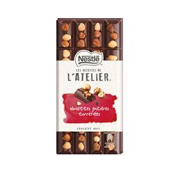 Chocolate negro l'atelier com avelãs