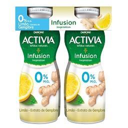 Iogurte liquido activia 0% infusion limão e gengibre
