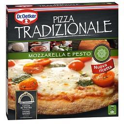 Pizza tradizionale de mozzarella e pesto