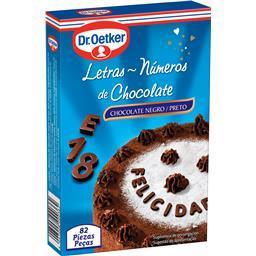 Letras e números de chocolate