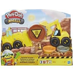 Escavadora e camião de carga