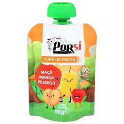 Saqueta de puré de fruta | maçã + manga + pêssego