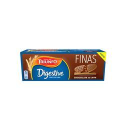 Bolachas digestive finas de chocolate de leite