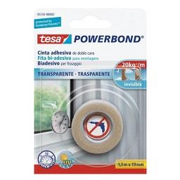 Fita bi-adesiva powerbond transparente - 1,5 m x 19 ...